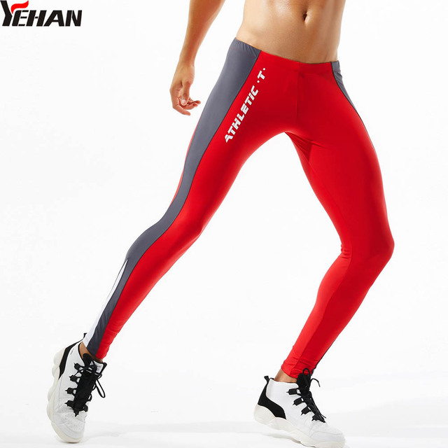 beccfc12c3 Yehan Running Tights Men High Stretchy Compression Leggings Side Patchwork  Sportswear Yoga Trousers Low Rise Fitness