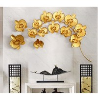 Modern Creative 3D Wrought Iron Gold Magnolia Crafts Restaurant Wall Decoration Ornament Sofa Background Mural Wall Sticker R719