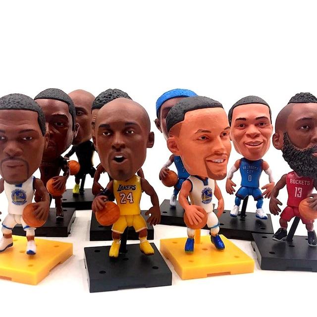 """1 pcs Bonecas Da Estrela de Basquetebol LeBron James Jogador DA NBA Estrela Kobe Bryant Durant Curry 2.5 """"Bonecos de Ação Estatueta Toy o melhor Presente Para Criança"""