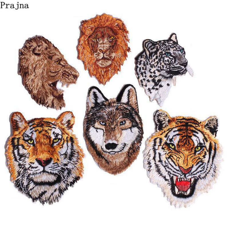 Prajna Biker Patches Rock Wolf Iron On Patches Tiger Lion Embroidery Clothing DIY Stickers Punk Badges For Motorcycle Clothes(China)