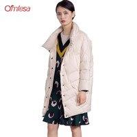 OMLESA 2018 осень зима Новый Для женщин пуховик геометрический модное пальто японский свободные Повседневное Стенд воротник мыс внешний SX06