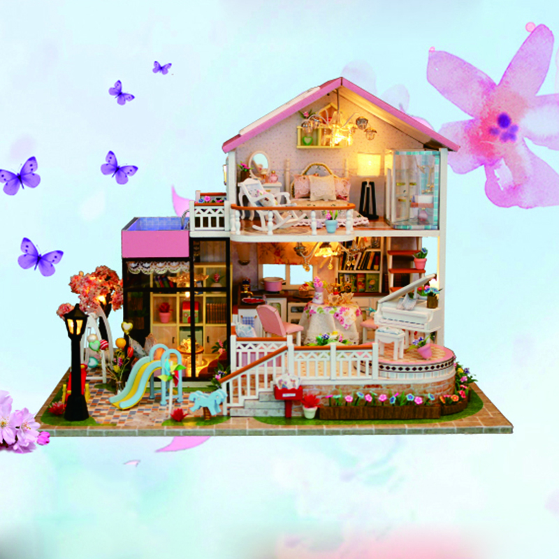 New FAI DA TE Casa di Bambola di Legno Case di Bambola In Miniatura Mobili Scatola del Kit Di Puzzle Assemblare Dolce Parola Casa Delle Bambole Giocattoli Per Il regalo Di Natale
