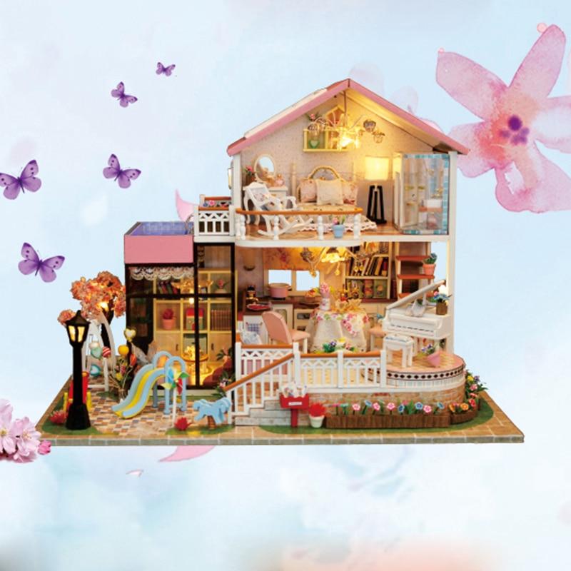 Nouveau BRICOLAGE Maison de Poupée En Bois Miniature Poupée Maisons Meubles Kit Boîte Puzzle Assembler Doux Mot Dollhouse Jouets Pour cadeau De Noël