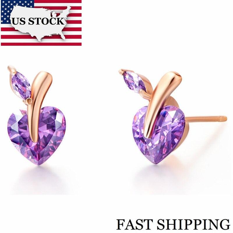 Jewelery Earrings Heart Rose Gold Plated Earings Fashion Jewelry Imitation White Purple Gemstone Boucle Doreille Ulove R698 jewellery