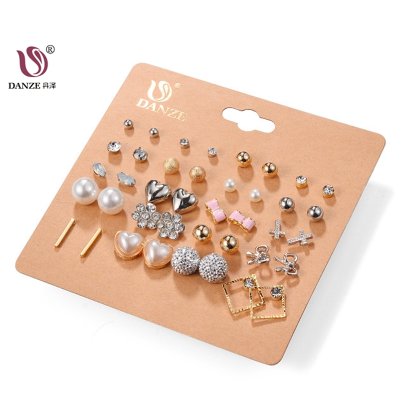 DANZE 20 Pairs/lot Punk Mixed Birds Star Heart Cross Shaped Small Stud Earrings Set For Women Imitation Pearl Jewelry Brincos