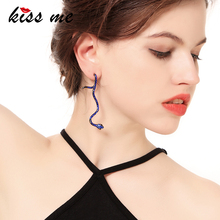 KISS ME 4 Colors Zinc Alloy Crystal Snake Dangle Earrings New Design Handmade Women Long Earring Fashion Retro Accessories