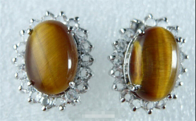 HOT SELL > Genuine Tigereye Tiger's Eye Opal White Crystal Earrings Top  quality free shipping-in Stud Earrings from Jewelry & Accessories on
