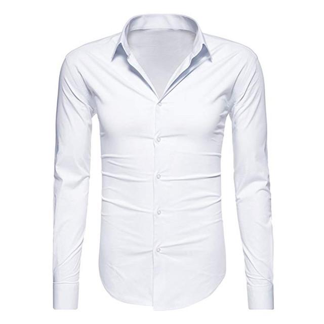Sleeper #J5 2019 Fashion Men's Long Sleeve Solid Color Shirts