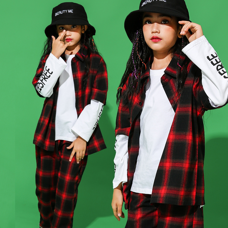 Hiphop Clothes Girls Costumes Black Vd Red Plaid Shirt Jazz Clothes Street Dance Clothes Hiphop Dance Wear Stage Costume VDB106