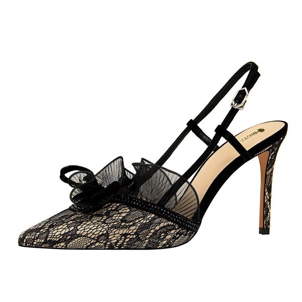 Nouvelle Talons argent Chaussures À Femmes or vert De Sexy Partie Stiletto Noir pourpre Boucle Sandales Noir Pompes Hauts Dentelle Été Fleur wS0EqAE