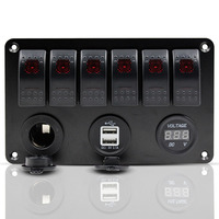 6 Gang Rocker Toggle Switch Panel Red LED Universal For Car Marine Boat Motorcycle Dual USB