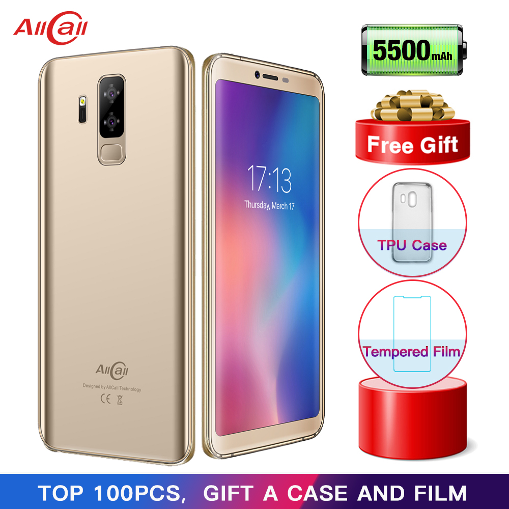 Allcall S5500 5500mAh 3G Smartphone 18:9 5.99 Inch Android 8.1 MTK6580M Quad Core 2GB RAM 16GB ROM Rear Dual Camera Mobile Phone