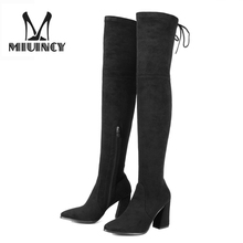Fashion Women Over The Knee Boots 2017 New Thigh High Boots Winter Boots Stretch Fabric Sexy Women Motorcycle Boots Shoes Woman