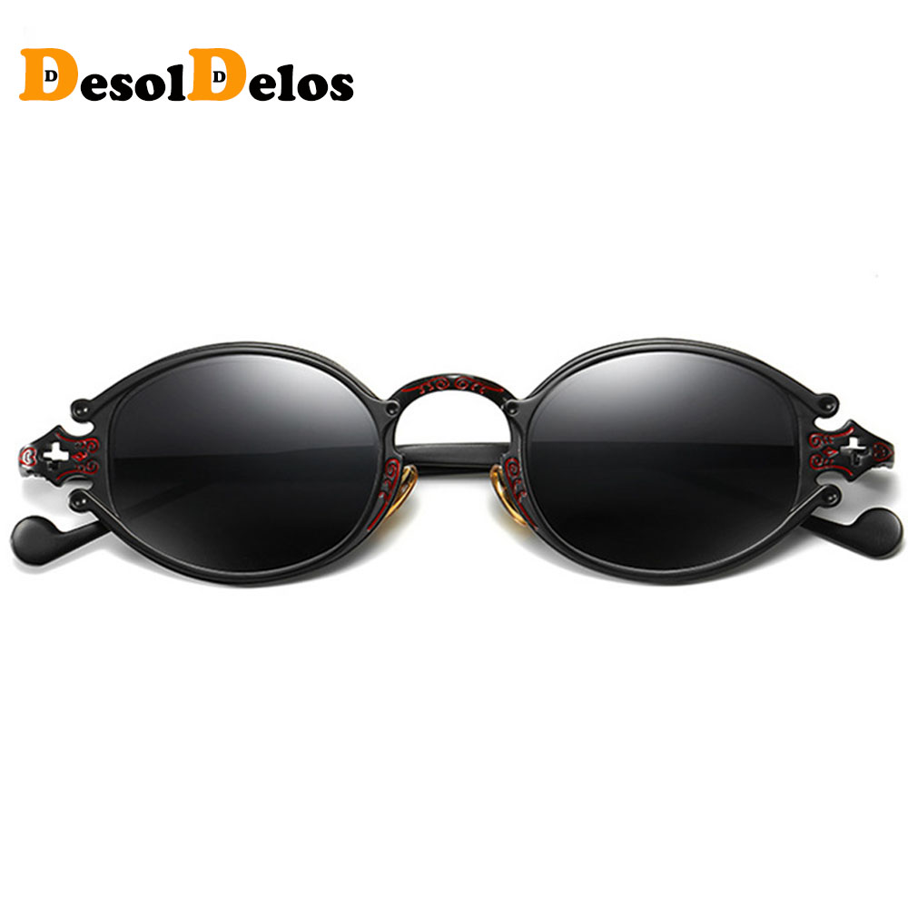 DesolDelos 2019 Oval Sunglasses Women Luxury Brand Designer Shades Sun Glasses Men Metal Round Eyewear Vintage Sunglass in Men 39 s Sunglasses from Apparel Accessories