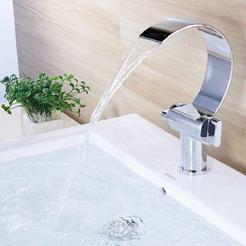 Unique European Bathroom Basin Faucet Single Hole Big Bend Sink Mixer Double Handle Waterfall Hot and Cold Basin Mixer Curved pastoralism and agriculture pennar basin india