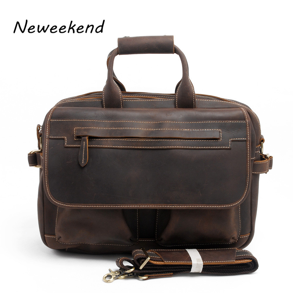 NEWEEKEND Men Casual Briefcase Business Shoulder Bag Leather Messenger Bags Computer Laptop Handbag Bag Mens Travel Bags 2951