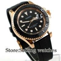 Парнис Смотреть 41 мм Мужские часы сапфировое стекло gold case окошко даты каучуковый ремешок 5ATM miyota автоматические наручные часы мужские