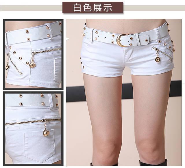 Moda Hot Shorts Mulheres Calções de Cintura Baixa Sexy Shorts Feminino Verão Fina Magro Night Club Wear Preto Branco