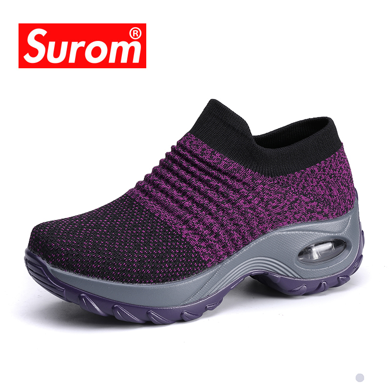 SUROM Summer Ladies Sneakers Women Shoes Mesh Breathable Lightweight Zapatillas Mujer Casual Shoes Comfortable Plus Size