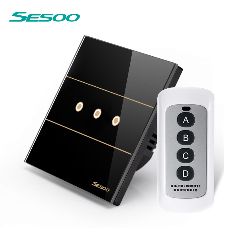 SESOO Remote Wall Switch 3 Gang 1 Way SY5-03 Black Touch Light Switch Crystal Glass Switch Panel RF433 Remote Control smart home us black 1 gang touch switch screen wireless remote control wall light touch switch control with crystal glass panel