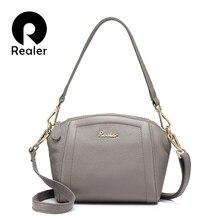 2930950f66d4 Realer бренд Женская сумка, высококачественная сумочка из натуральной кожи,  Цвета фиолетовый/серый/