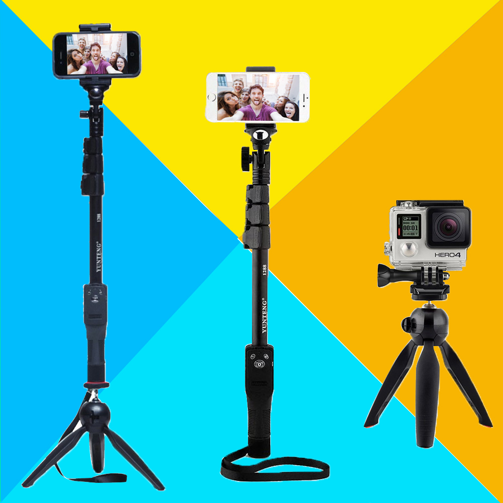 Caméra Téléphone Bluetooth Extensible Selfie Bâton Yunteng 1288 Télescopique Manfrotto pôle ou 228 Mini Trépied Pour Iphone 5 6 7 Samsung