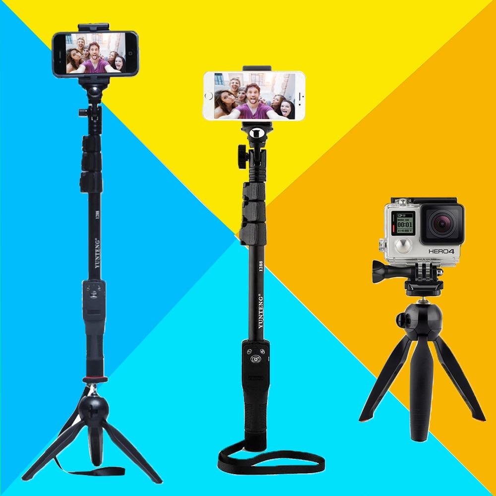 Kamera Telefon Bluetooth Erweiterbar Selfie Stick Yunteng 1288 Teleskop Einbeinstativ pol oder 228 Mini Stativ Für Iphone 5 6 7 Samsung