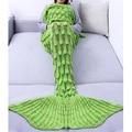 iiniim knitting mermaid tail blanket spring sofa blanket the best gift for wife girl friend both for kids and adult 85*225cm