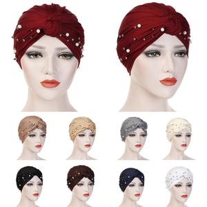 Image 1 - イスラム教徒の女性ビーズ弾性ターバン化学及血キャップヒジャーブアラブヘッドスカーフラップカバービーズスカーフプリーツキャップ髪損失