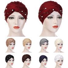 Muslim Women Beads Elastic Turban Hat Chemo Cap Hijab Arab Head Scarf Wrap Cover Beading Headscarf Knot Pleated Cap Hair Loss