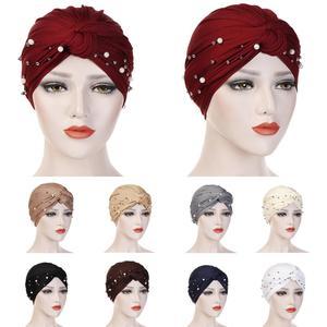 Image 1 - Muslim Women Beads Elastic Turban Hat Chemo Cap Hijab Arab Head Scarf Wrap Cover Beading Headscarf Knot Pleated Cap Hair Loss