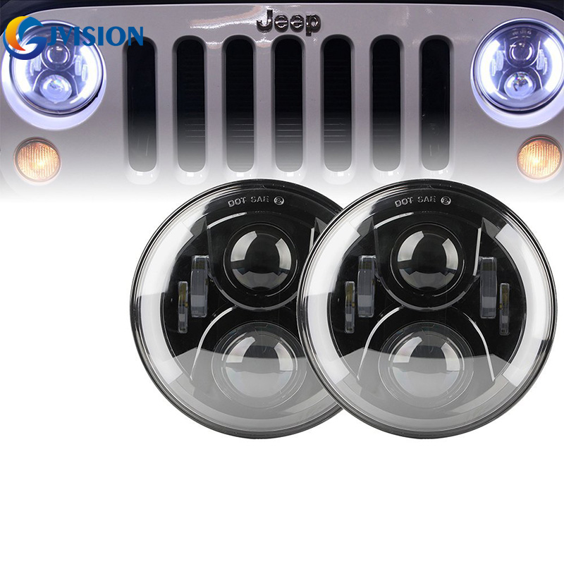 DOT Approved 7 inch round led projector headlights High/ Low Beam Angel eyes DRL Amber Turn signal for Jeep Wrangler JK LJ CJ 7 inch 80w round led headlights high