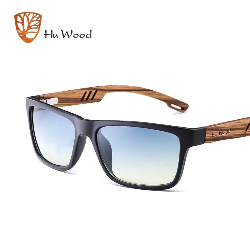 HU WOOD ապրանքանիշի դիզայն Zebra փայտ արևային արևային ակնոց տղամարդկանց համար Նորաձևություն Սպորտ Գույն Գրադիենտ արևային ակնոցներ Ձկնորսություն հայելային ոսպնյակներ GR8016