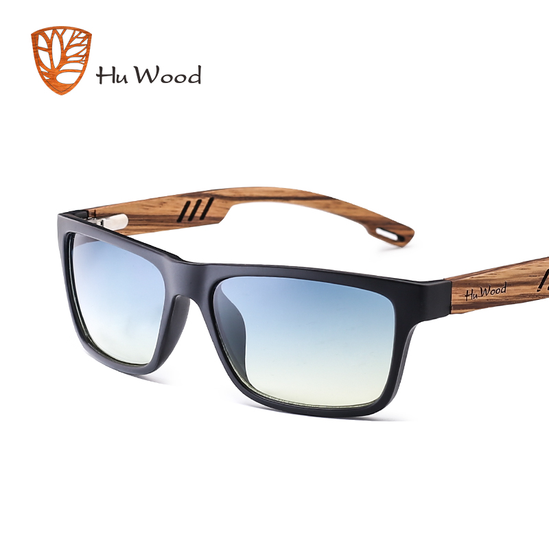 HU WOOD العلامة التجارية تصميم زيبرا الخشب نظارات شمسية للرجال أزياء الرياضة التدرج اللون نظارات القيادة الصيد مرآة العدسات GR8016