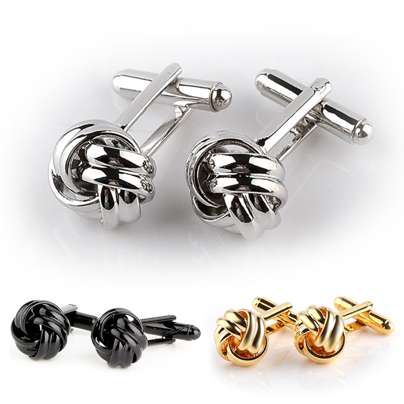 French Style Fashion Knot Design Men Cufflinks Gold Silver Black Party Suit Shirt Cuff Buttons Male Personalized Gemelos(China)
