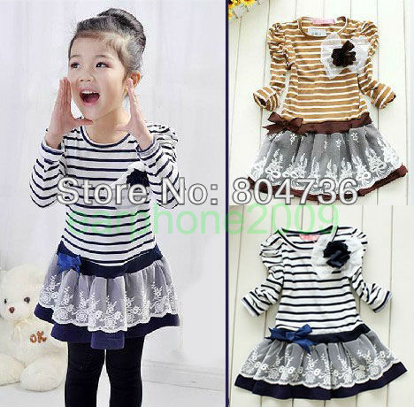 Hot sell spring girls princess dress Children's Dress(Age:2-7 years) 2 colors 5 size free shipping