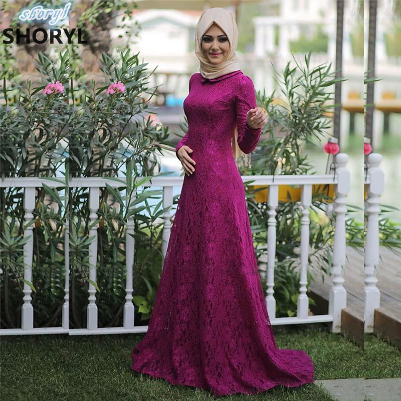 Long Sleeve Muslim Evening Dress 2017 Lace font b Hijab b font Islamic Abaya Kaftan High