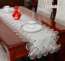 Luxury white lace satin embroidery table runner flag cloth cover nappe Christmas mantel tea tablecloth placemat wedding decor novel circular mesh pattern lace round tablecloth transparent christmas party wedding tea table mat decoration mantel nappe