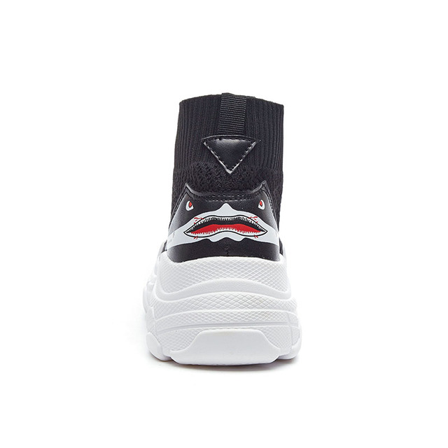 82110776102 ADBOOV High Top Sneakers Men Unisex Knit Upper Breathable Shoes Fashion  Shark Logo Couple Black ...