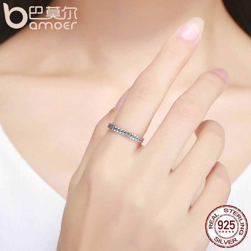 Bamoer autêntico 925 prata esterlina empilhável anel forma de trigo seta dedo anel feminino vintage prata esterlina jóias scr139
