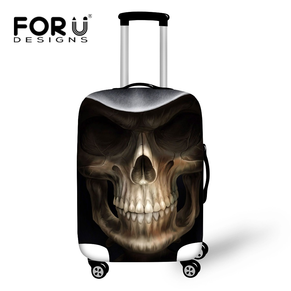 Hight Men Travel Luggage Cover Cool Skull Luggage Suitcase Cover Elastic Travel Dust Protective Cover Bag to 18-30 inch Suitcase