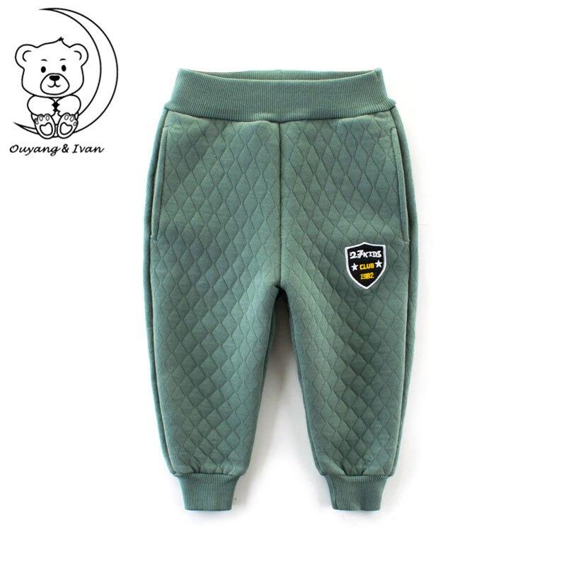 New Autumn Thick Long Pants Kids Cotton Pants Blue Solid Sport Long Pants Boys Warm Trousers Winter Elastic Pencil Pants90 140cm