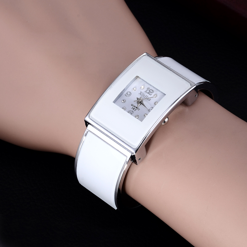 2019 Xinhua Fashion White Black Watches Women Stainless Steel Bracelet Bangle Luxury Rectangle Quartz Watches Relogios Feminino