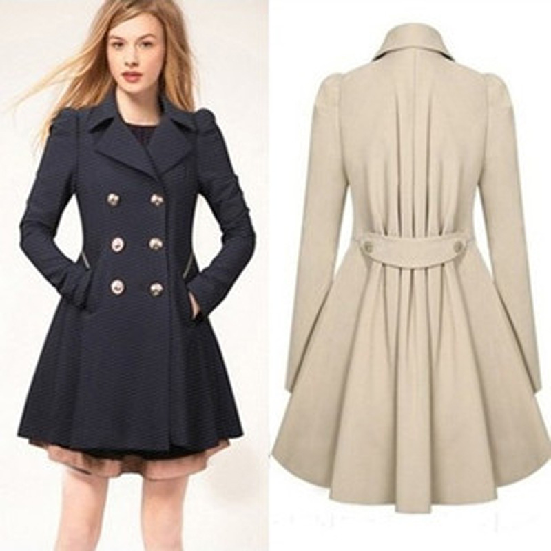 European and American elegant a-line woman   trench   spring and autumn double breasted office office long female   trench