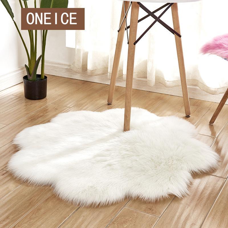 Tapis Imitation laine australienne tapis de porte européen tapis de sol canapé Semi-circulaire salon tapis de chevet tapis