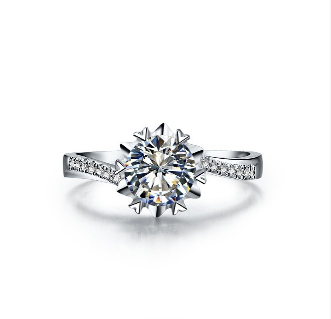 2be328e2179d6 US $54.0 50% OFF 1CT Snowflake Shape High Quality Lovely Diamond ring  Genuine Solid 925 Sterling Silver Engagement Ring for Women-in Rings from  ...
