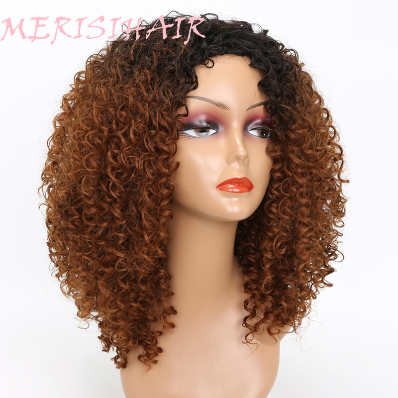 MERISI HAIR Long Kinky Curly Afro Wig Blonde Mixed Brown Color Synthetic Wigs for Black Women Heat Resistant Fiber 250g  (3)