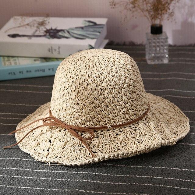 2017 Sólido Señoras Sombrero De Playa Sombrero de Verano Arco Decorativo de  Las Mujeres Regalo del c87da54fec1
