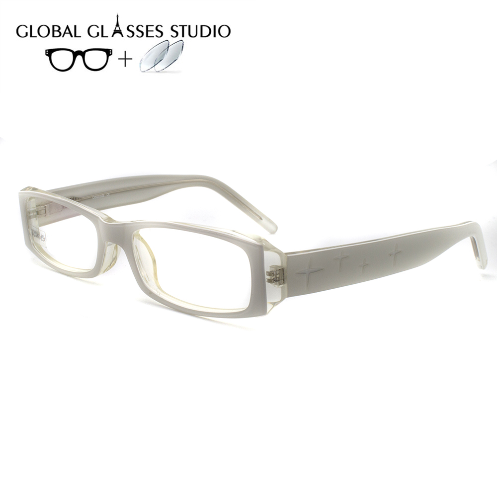 Women Or Men Acetate Glasses Frame Eyewear Eyeglasses Reading Myopia Prescription Lens 1.56 Index  D8019 C49(China)