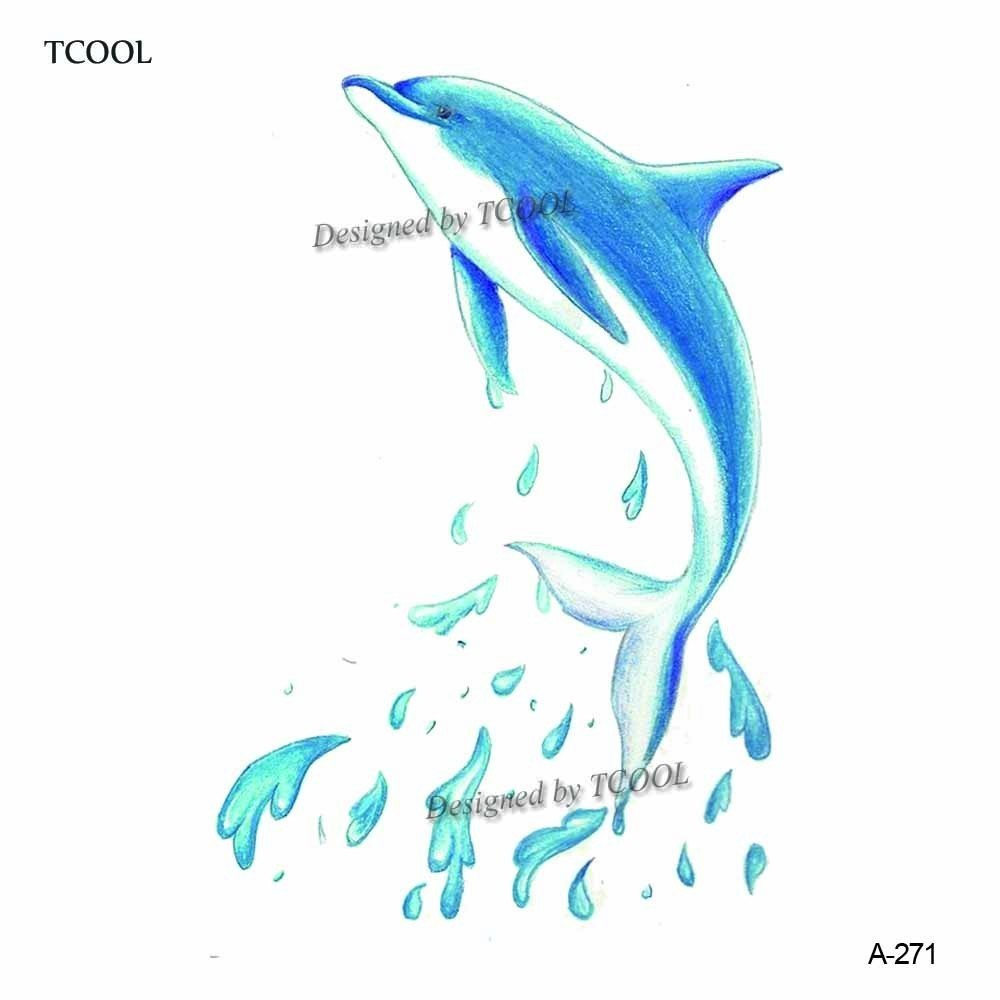 HXMAN Dolphin Temporary Tattoo Sticker Waterproof Women Body Art Tatoo Animal Hand Tattoos Paper 9.8X6cm A-271